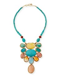 Turquoise Magnesite And Agate Statement Necklace Nakamol