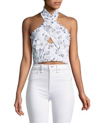 Likely Norma Printed Halter Crop Top White Pattern