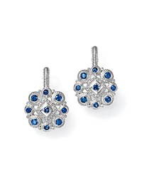 Judith Ripka Sterling Silver La Petite Snowflake Cluster Earrings With Sapphire Blue Silver