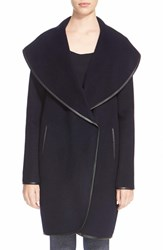 Women's St. John Collection Leather Trim Double Face Wool Blend Coat