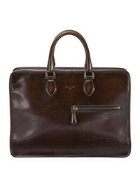Berluti Deux Jours Scritto Embossed Leather Briefcase Brown