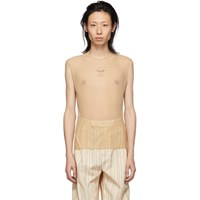 Cmmn Swdn Tan Mesh Second Skin Tank Top