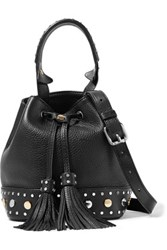 Sandro Alane Studded Textured Leather Bucket Bag Black
