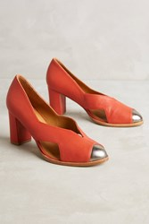 Anthropologie Eva Vs. Maria Toe Capped Leather Pumps Red