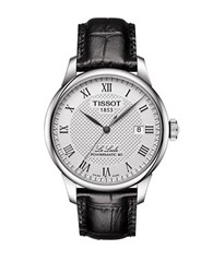 Tissot Le Locle Sapphire Crystal Leather Band Watch Blacck