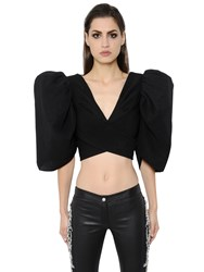 Zuhair Murad Puffed Sleeves Cady And Lace Cropped Top