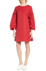 Halogen Parachute Sleeve Shift Dress Red Lipstick