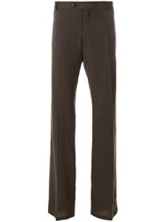 Armani Collezioni Tailored Fitted Trousers Linen Flax Tencel Brown