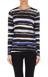 Proenza Schouler Women's Falling Flowers Long Sleeve T Shirt Blue Size
