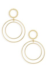 Argentovivo Argento Vivo Beaded Double Hoop Drop Earrings Gold