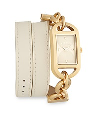 Versus By Versace Riviera Beach Goldtone Finished Stainless Steel Double Wrap Ivory Leather Strap Watch