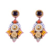 Niino Jewelry Pink Victorian Statement Drop Earrings Gold
