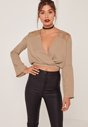 Missguided Nude Lace Insert Wrap Front Crop Top Brown