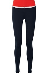 Tory Sport Color Block Stretch Tactel Leggings Navy