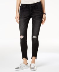 Rampage Juniors' Ripped Step Hem Skinny Jeans Black