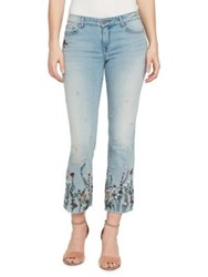 William Rast Embroidered Floral Cropped Flare Jeans Clueless