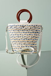 Anthropologie Gracelyn Straw Tote Bag Light Grey