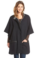 Women's Caslon Cotton Twill Zip Front Cape Black