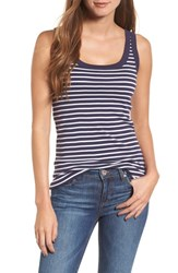 Caslon Cotton Tank Navy White Stripe