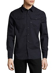 G Star Solid Cotton Shirt Rinsed Blue