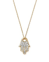 Adina Reyter 14K Yellow Gold Pave Diamond Hamsa Pendant Necklace 15 White Gold