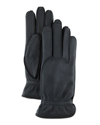 Loro Piana Leather Gloves With Cashmere Lining Black