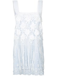 Alexis Lace Shift Dress Women Cotton Polyester M Blue