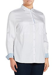 Basler Plus Size Solid Point Collar Button Down Shirt Optic White