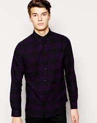 New Look Long Sleeve Shirt With Buffalo Check Plum