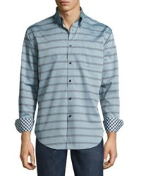 Neiman Marcus Striped Long Sleeve Shirt Green