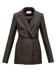 The Row Ciel Double Breasted Twill Jacket Dark Brown