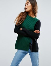 Asos Jumper With Split Front And Tie Detail Multi