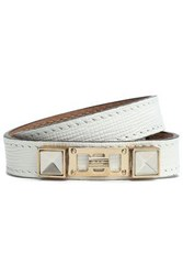 Proenza Schouler Textured Leather Silver And Gold Tone Wrap Bracelet Off White Off White