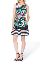 Tahari Women's Stripe Floral Fit And Flare Dress Black Ivory Poppy