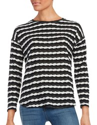 Vince Camuto Long Sleeve Crew Neck Drop Shoulder Tee Rich Black White