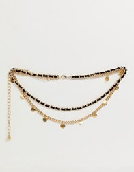 New Look Coin Layered Chain Belt In Gold