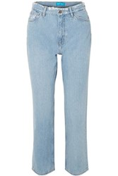 Mih Jeans M.I.H Jeanne High Rise Cropped Distressed Straight Leg Light Denim