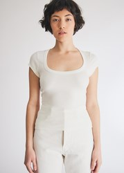 Which We Want Marley Scoop Neck T Shirt In White Size Small Spandex