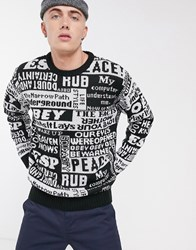 Obey Post Jumper With All Over Print In Black