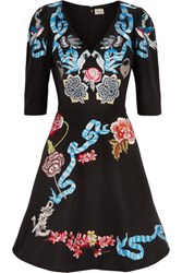 Temperley London Sailor Embroidered Cotton And Silk Blend Faille Mini Dress Black