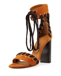Chloe Suede Whipstitch Ankle Tie Sandal Black