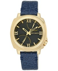 Vince Camuto Women's Navy Leather Strap Watch 44Mmm Vc 1003Bkgp