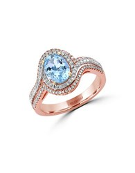 Effy Aquarius Two Tone 14K Gold Aquamarine And Diamond Ring 0.41 Tcw Blue