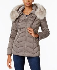 T Tahari Faux Fur Trim Hooded Coat Mink