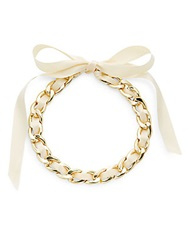 Rj Graziano Ribbon And Chain Necklace Ivory
