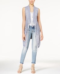 American Rag Open Knit Fringe Trim Long Sweater Vest Only At Macy's Pale Blue
