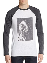 Saks Fifth Avenue Red Native American Portrait Raglan Baseball Tee Navy White