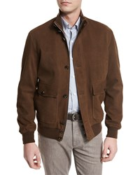 Ermenegildo Zegna Full Grain Suede Button Down Jacket Cognac Red