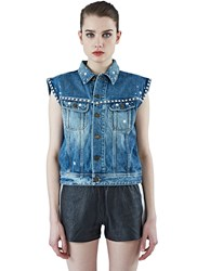 Saint Laurent Studded Sleeveless Denim Vest Blue