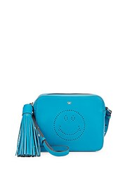 Anya Hindmarch Smiley Leather Crossbody Pouch Bright Blue